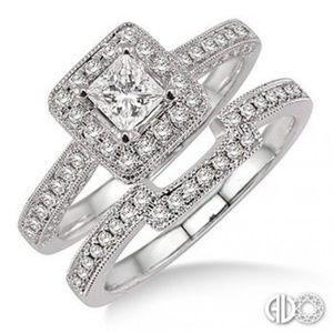 *HP*STUNNING 1CTW PRIN/CUT DIAMOND WEDDING SET
